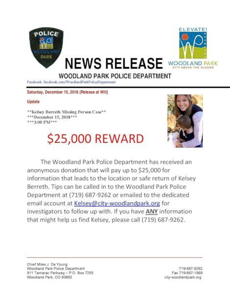 PHOTO: Authorities are now offering $25,000 for information that leads to the safe return of missing Colorado mom Kelsey Berreth. She was last seen on Thursday, Nov. 22, 2018. (Woodland Park Police Department)