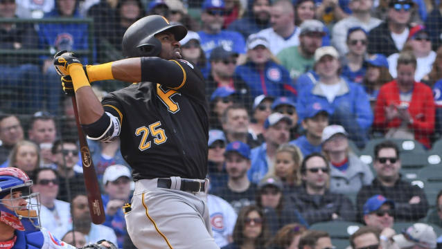 Pittsburgh Pirates' Gregory Polanco hits a home run during the seventh inning of a baseball game against the Chicago Cubs, Thursday, April 12, 2018, in Chicago. (AP Photo/Matt Marton)