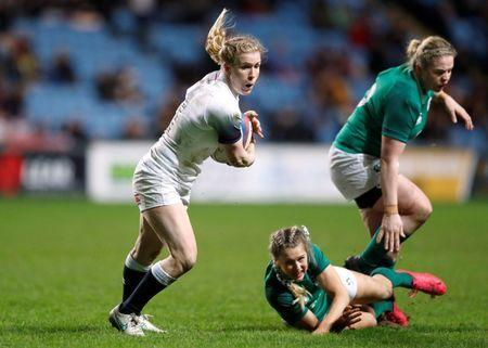 FILE PHOTO: Rugby Union - Women's Six Nations Championship - England vs Ireland - Ricoh Arena, Coventry, Britain - March 16, 2018 England's Danielle Waterman in action with Ireland's Megan Williams and Niamh Briggs Action Images/John Sibley