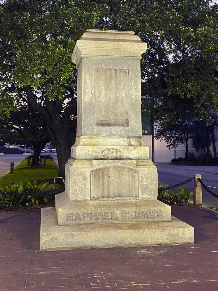 The pedestal where the statue of Admiral Raphael Semmes stands empty, early Friday, June 5, 2020 in Mobile, Ala. The city of Mobile removed the Confederate statue early Friday, without making any public announcements. (WMPI-TV via AP)
