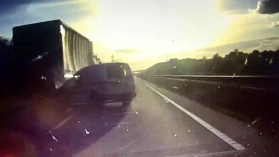 <em>The van hits the lorry then bounces off (Picture: SWNS)</em>