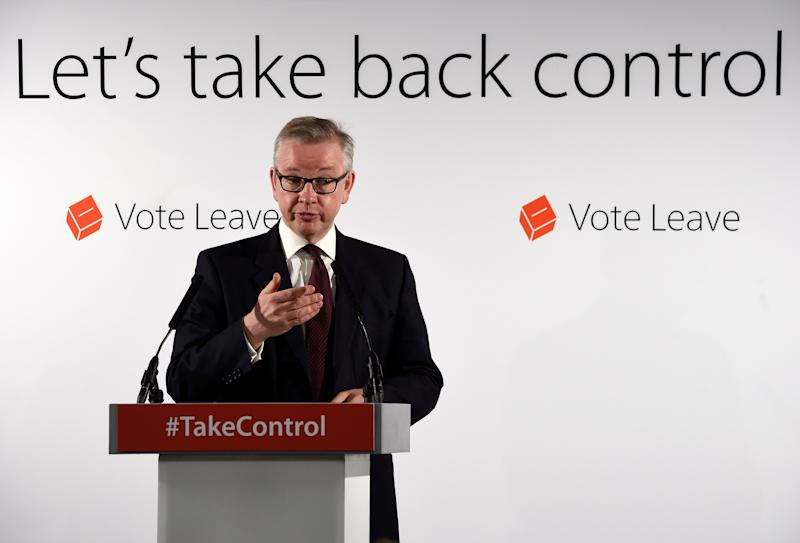 Justice Secretary Michael Gove gives a briefing on the EU as part of the Vote Leave campaign at Westminster Tower in London.