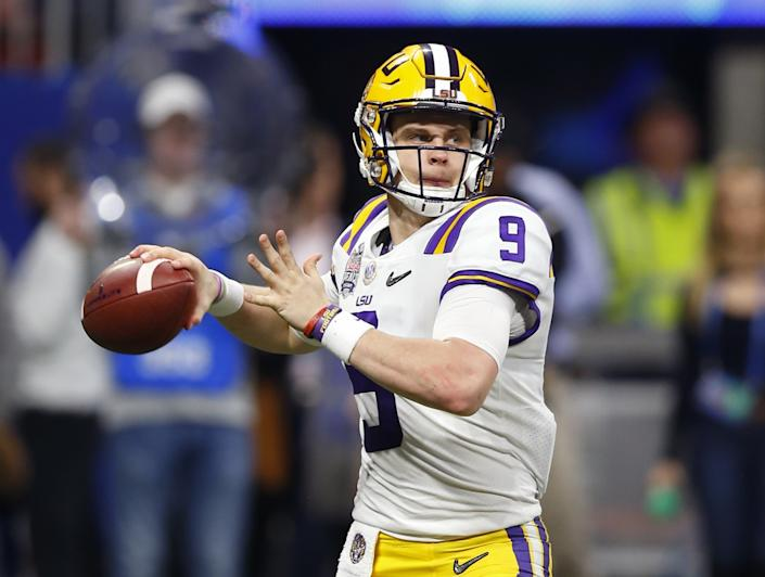 Louisiana State's Joe Burrow readies to pass in the College Football Playoff semifinal against Oklahoma in December.