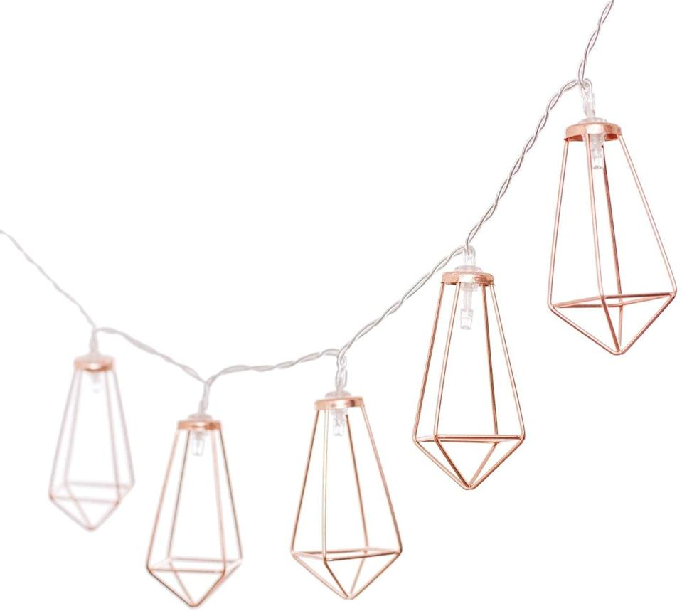 <p>These <span>Rose Gold Geometric String Lights</span> ($16) will add flair to their bedroom.</p>