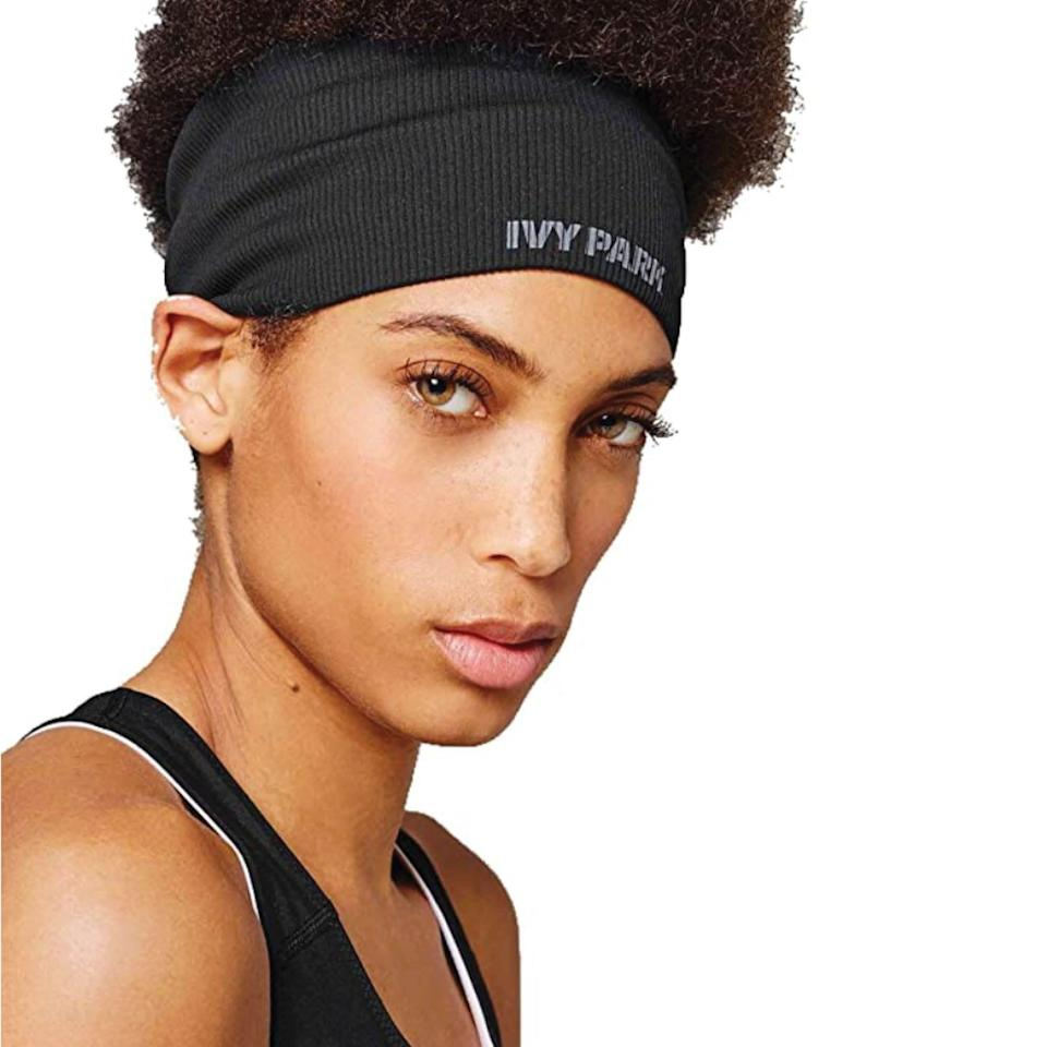 """<p><strong>Ivy Park</strong></p><p>amazon.com</p><p><strong>$11.95</strong></p><p><a href=""""https://www.amazon.com/dp/B071YWY37P?tag=syn-yahoo-20&ascsubtag=%5Bartid%7C2142.g.36448024%5Bsrc%7Cyahoo-us"""" rel=""""nofollow noopener"""" target=""""_blank"""" data-ylk=""""slk:Shop Now"""" class=""""link rapid-noclick-resp"""">Shop Now</a></p><p>This seamless wide-fitting headband from Beyoncé's Ivy Park activewear line is sure to hold your hair back securely, so you can focus on getting your sweat on. </p>"""