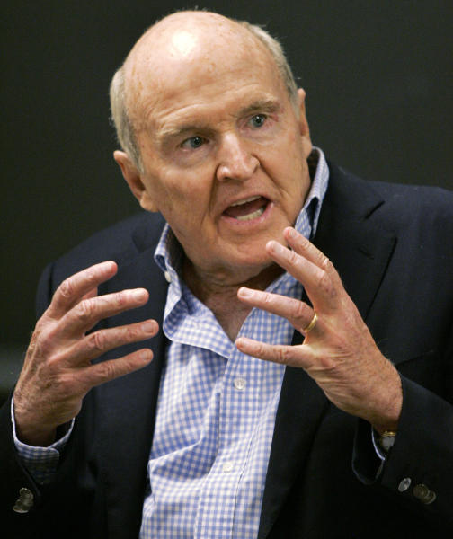 FILE - In this Sept. 27, 2006 file photo, former General Electric CEO Jack Welch addresses students at the Massachusetts Institute of Technology, in Cambridge, Mass. Conspiracy theorists came out in force Friday, Oct. 5, 2012, after the government reported a sudden drop in the U.S. unemployment rate one month before Election Day. Welch tweeted his skepticism five minutes after the Labor Department announced that the unemployment rate had fallen to 7.8 percent in September from 8.1 percent the month before. (AP Photo/Elise Amendola, File)