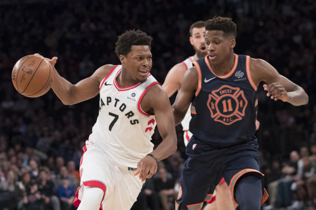 Frank Ntilikina (right) showed signs of being a lockdown backcourt defender in his rookie season in New York. (AP)