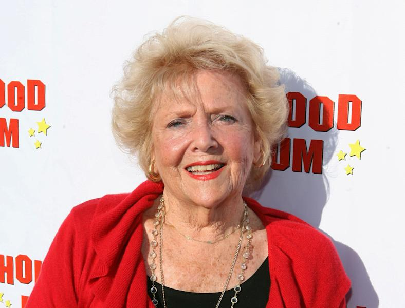 "FILE - This Aug. 4, 2011 file photo originally released by CBS DVD shows actress Doris Singleton arriving at the ""Lucille Ball At 100 & 'I Love Lucy' At 60"" opening gala at The Hollywood Museum in Los Angeles. Singleton, who played Lucy and Ricky Ricardo's neighbor on ""I Love Lucy,"" died Tuesday June 26, 2012. She was 92. (AP Photo/CBS DVD, Casey Rodgers)"
