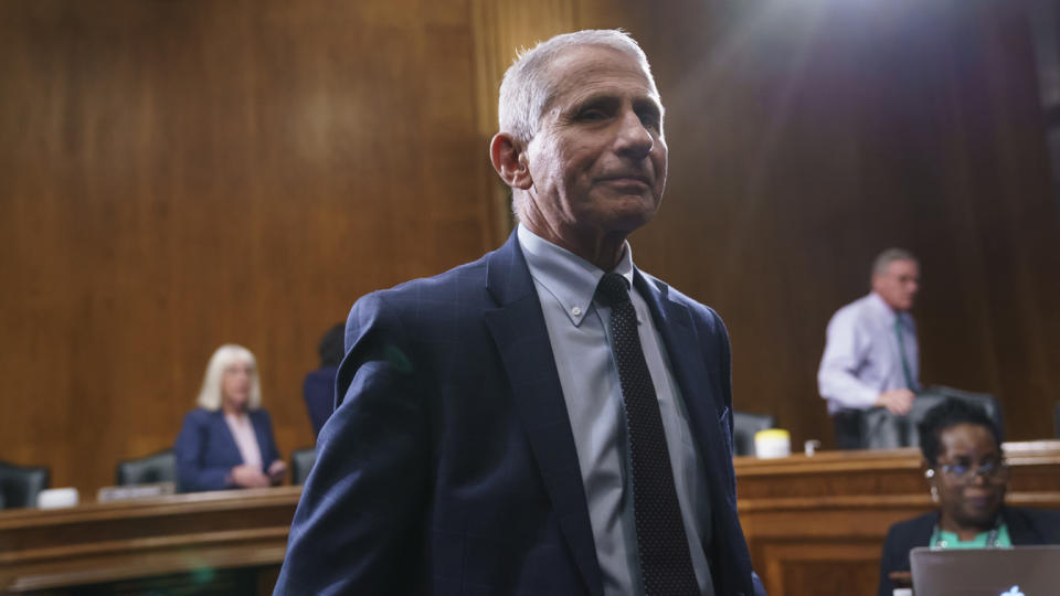 Dr. Anthony Fauci, President Biden's chief medical adviser, finishes testimony before the Senate Health, Education, Labor and Pensions Committee in July.