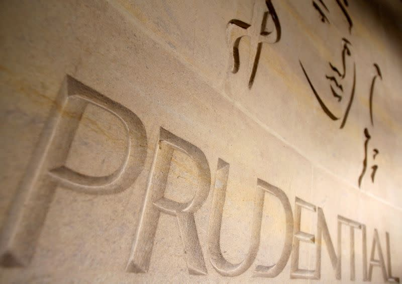 FILE PHOTO: FILE PHOTO: The logo of British life insurer Prudential is seen on their building in London