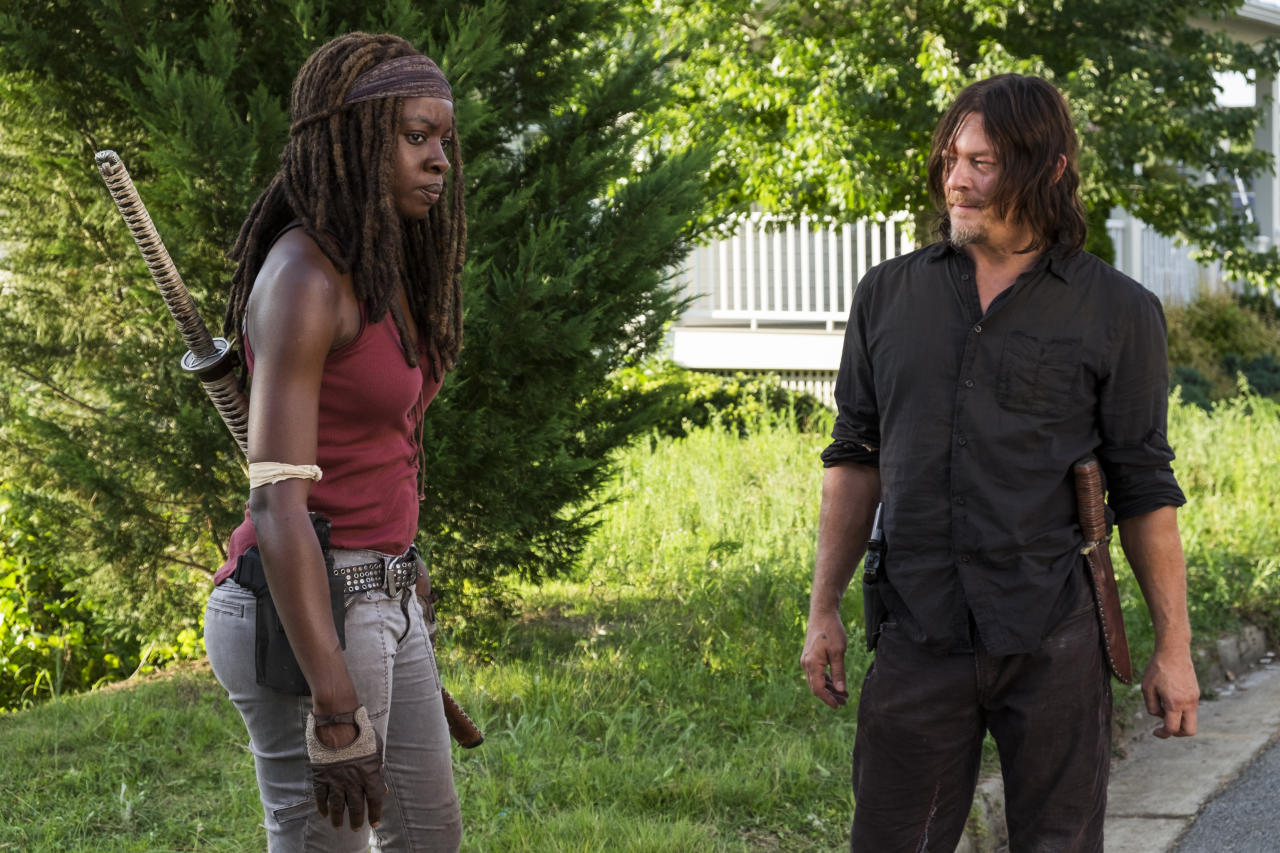 <p>Danai Gurira as Michonne, Norman Reedus as Daryl Dixon in AMC's <i>The Walking Dead</i>.<br />(Photo: Gene Page/AMC) </p>