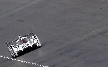 Nico Hulkenberg of Germany drives his Porsche 919 Hybrid number 19 during the Le Mans 24-hour sportscar race in Le Mans, central France June 13, 2015. REUTERS/Regis Duvignau