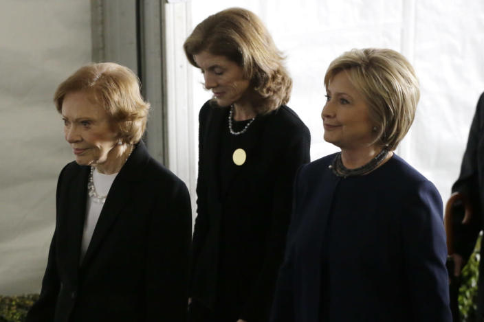 <p>From left, Rosalynn Carter, Caroline Kennedy and Hillary Clinton leave the funeral service for former first lady Nancy Reagan at the Ronald Reagan Presidential Library on Friday. <i>(Photo: Jae C. Hong/AP)</i></p>