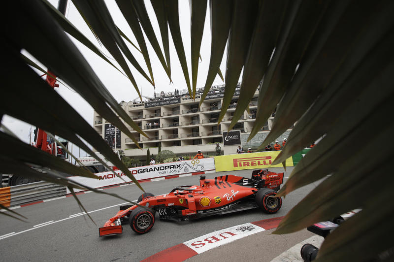 FILE - In this file photo dated Thursday, May 23, 2019, Ferrari driver Sebastian Vettel of Germany during a practice session at the Monaco racetrack, in Monaco. Despite 15 Formula One races without a win, four-time world champion Sebastian Vettel on Thursday June 20, 2019, claims he is not burdened by his lack of form heading into this weekend's French Grand Prix. (AP Photo/Luca Bruno, FILE)