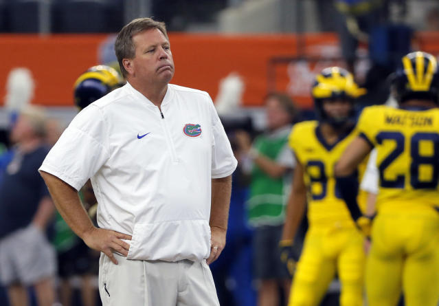 Florida head coach Jim McElwain had plenty to be frustrated about on Saturday against Michigan. (AP)