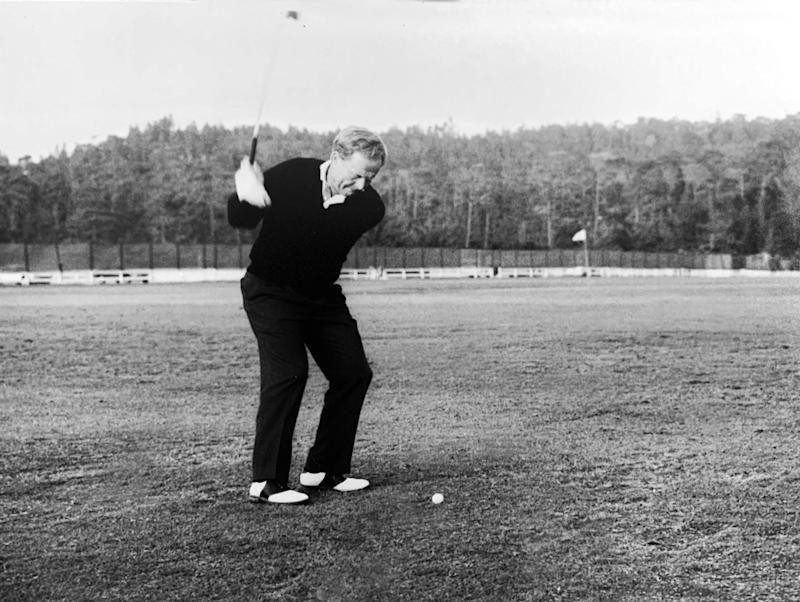 Jack Nicklaus practices during the 1992 U.S. Open at Pebble Beach.