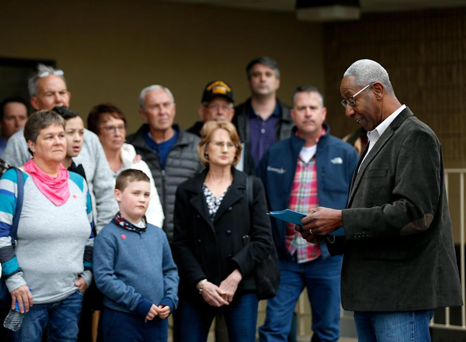 Calvin Morrow, a Springfield, Missouri rally organizer, speaks to families before a Springfield Public Schools board meeting on Tuesday, March 23, 2021. Morrow was speaking out against teaching critical race theory in Springfield's classrooms.
