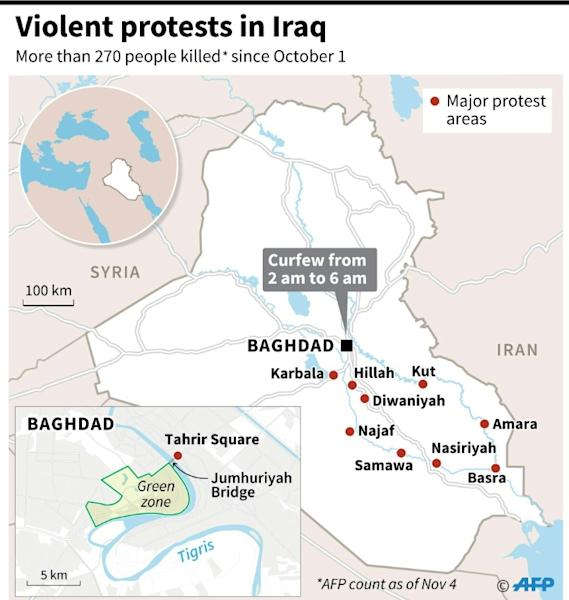 Map showing major protests areas in Iraq since October 1 (AFP Photo/Gal ROMA)