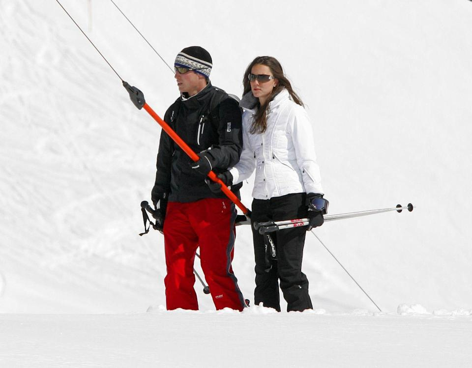 <p>Spotted with Prince William while on a skiing holiday in Klosters, Switzerland.</p>