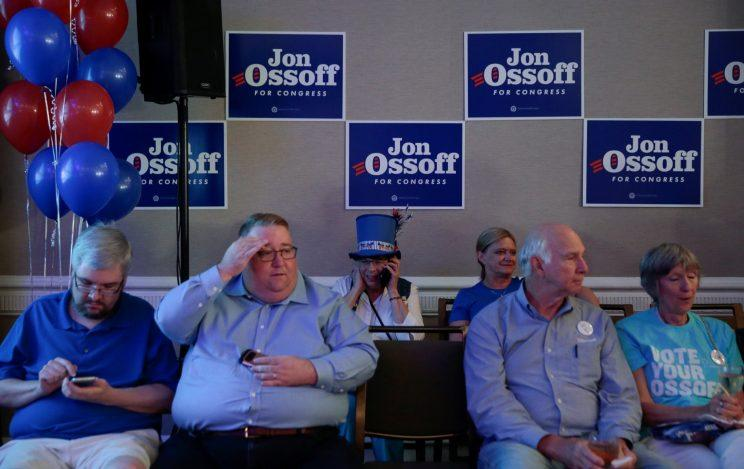 Supporters of Democrat Jon Ossoff wait for the polls to come in at Ossoff's election night event in Atlanta, Georgia, U.S., June 20, 2017. REUTERS/Chris Aluka Berry