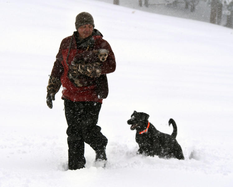 Curtis Raulerson, of Las Vegas, holds Maya as Dakota follows through about nine-inch deep snow at Lee Canyon snow play area on Mt. Charleston northwest of Las Vegas, Friday, Nov. 22, 2013. The rain was turning to heavy snow in higher elevations, including rural eastern Nevada's Lincoln County, where 50 to 60 cars got stranded early Friday. (AP Photo/Las Vegas Review-Journal, Jerry Henkel) LOCAL TV OUT; LOCAL INTERNET OUT; LAS VEGAS SUN OUT