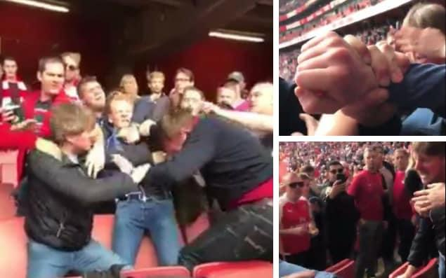 A scuffle appeared to break out among Arsenal supporters during the match against Manchester City