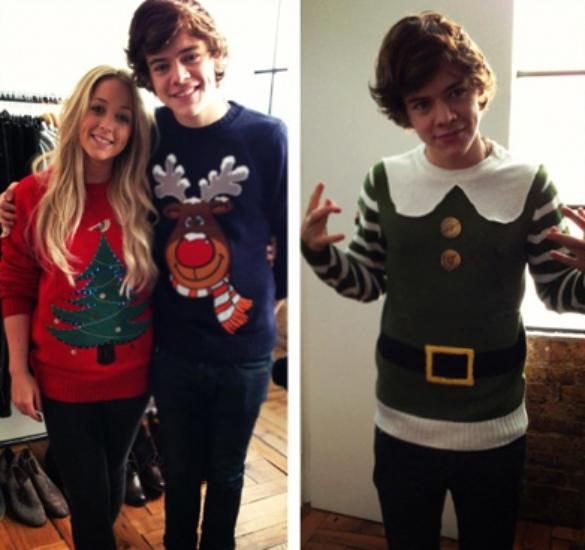 Harry Styles Gets Into The Festive Mood And Models His Christmas Jumpers