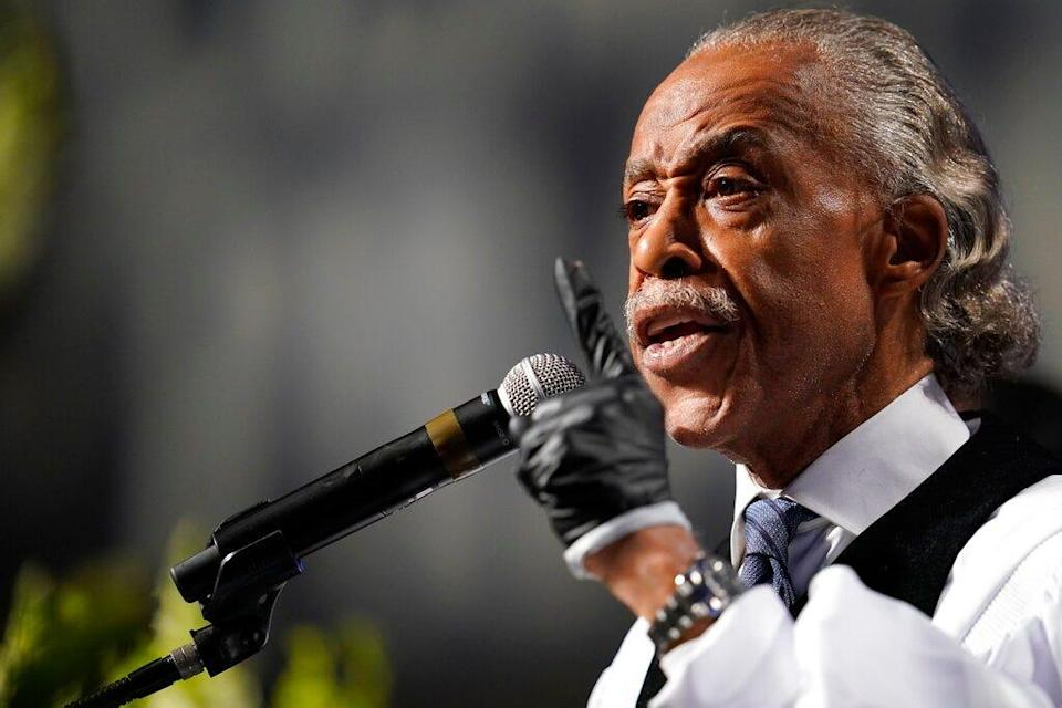 The Rev. Al Sharpton speaks during a funeral service for George Floyd at The Fountain of Praise church Tuesday, June 9, 2020, in Houston.