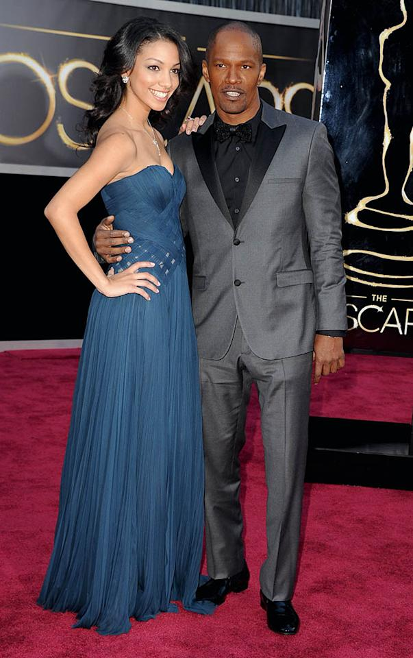 HOLLYWOOD, CA - FEBRUARY 24:  Actor Jamie Foxx (R) and and daughter Corinne Bishop arrive at the Oscars held at Hollywood & Highland Center on February 24, 2013 in Hollywood, California.  (Photo by Steve Granitz/WireImage)