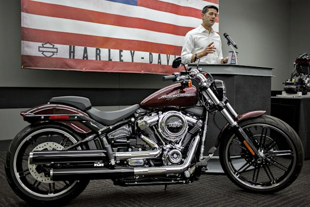 U.S. House Speaker Paul Ryan, a Republican from Wisconsin, speaks during a news conference following a tour of the Harley-Davidson Inc. facility in Menomonee Falls, Wisconsin, U.S., on Monday, Sept. 18, 2017. (Bloomberg via Getty Images)