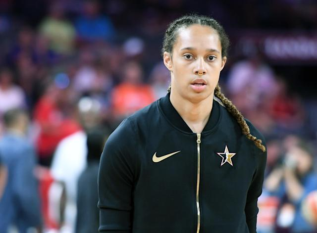 Brittney Griner was thrown out of Saturday's Mercury-Wings game, along with several other players. (Photo by Ethan Miller/Getty Images)