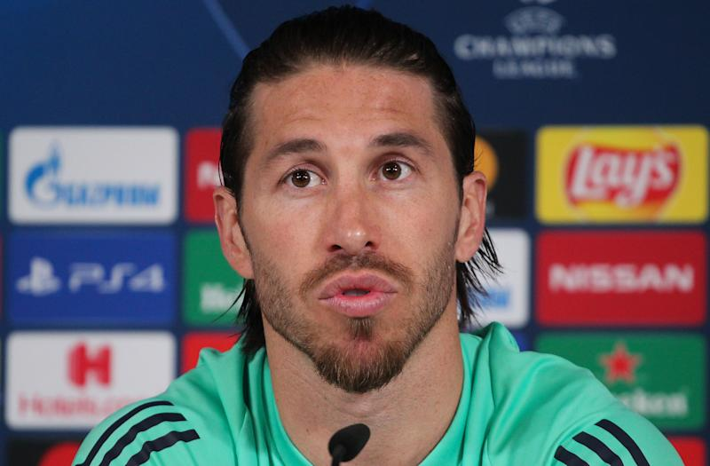 VALDEBEBAS, SPAIN - FEBRUARY 25: Sergio Ramos attends during the Press Conference of Real Madrid at Ciudad Deportiva Real Madrid before the UEFA Champions League, Round of 16, football match against Manchester City on February 25, 2020 in Valdebebas, Spain. (Photo by Irina R. H. / AFP7 / Europa Press Sports via Getty Images)