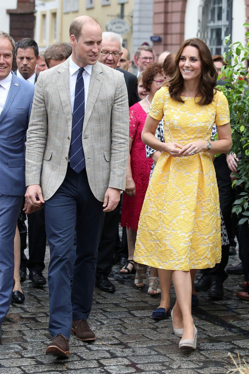 <p>In a yellow Jenny Packham dress visting the German Cancer Research Centre in Heidelberg.</p>