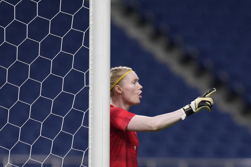 Sweden's goalkeeper Hedvig Lindahl reacts during a women's quarterfinal soccer match against Japan at the 2020 Summer Olympics, Friday, July 30, 2021, in Saitama, Japan. (AP Photo/Martin Mejia)