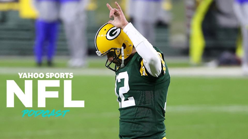 Aaron Rodgers led the Green Bay Packers to victory on Saturday against the Los Angeles Rams. Green Bay hosts the Tampa Bay Buccaneers on Sunday, where the winner will head to Super Bowl LV. (Photo by Dylan Buell/Getty Images)