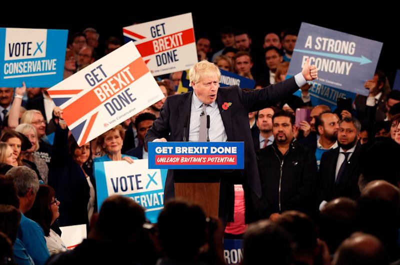 <strong>Boris Johnson speaks during an election campaign event at the NEC in Birmingham.</strong> (Photo: ASSOCIATED PRESS)