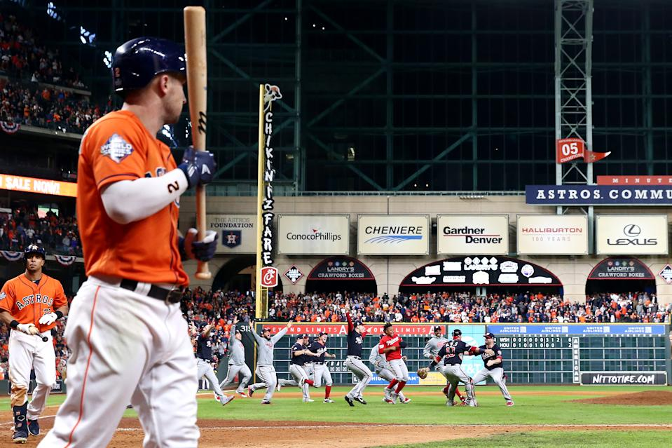 HOUSTON, TEXAS - OCTOBER 30: The Washington Nationals celebrate after defeating the Houston Astros in Game Seven to win the 2019 World Series at Minute Maid Park on October 30, 2019 in Houston, Texas. The Washington Nationals defeated the Houston Astros with a score of 6 to 2. (Photo by Elsa/Getty Images)
