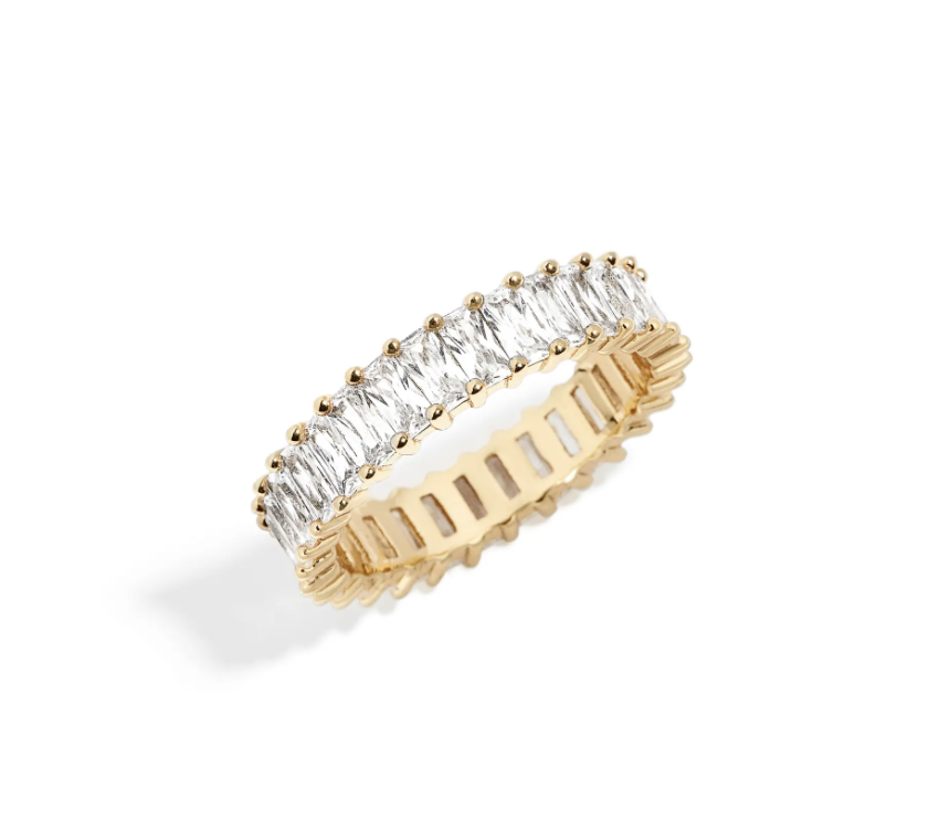 BaubleBar Mini Alidia Baguette Ring with gold interior band