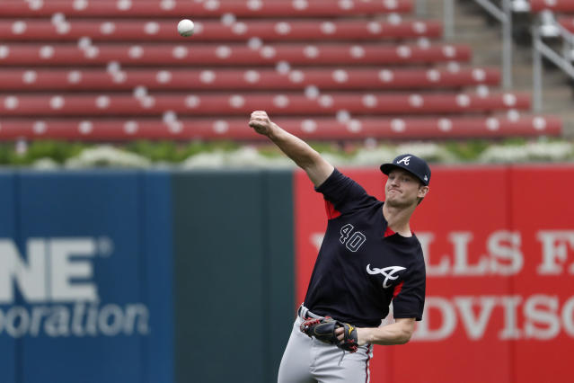 Atlanta Braves starting pitcher Mike Soroka plays catch during a baseball workout Saturday, Oct. 5, 2019, in St. Louis. The Braves are scheduled to play the St. Louis Cardinals in Game 3 of the National League Division Series on Sunday. (AP Photo/Jeff Roberson)