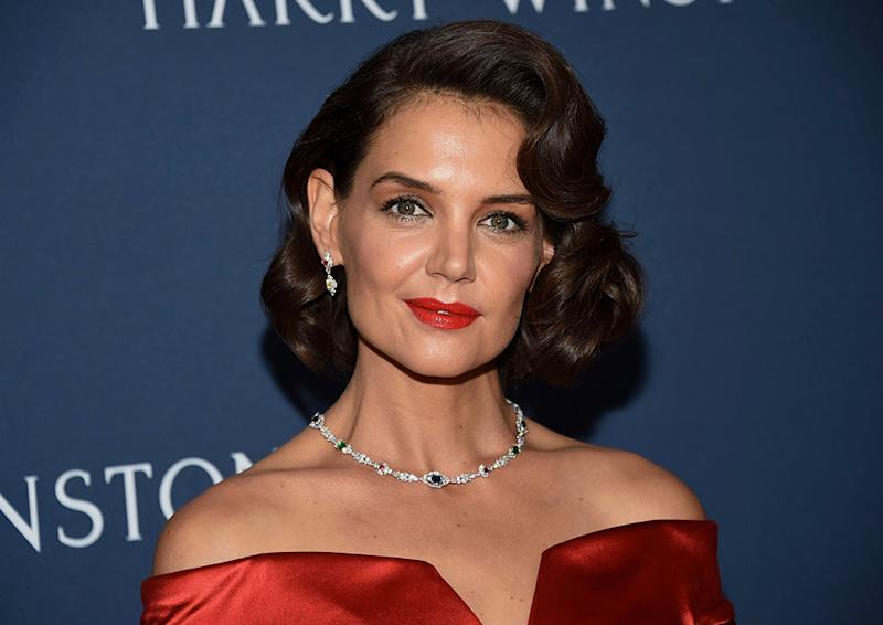 Old Hollywood Glamour Katie Holmes Channels Old Hollywood Glamour in a Curve-Hugging Red Dress,  Strappy Heels u0026 Diamonds