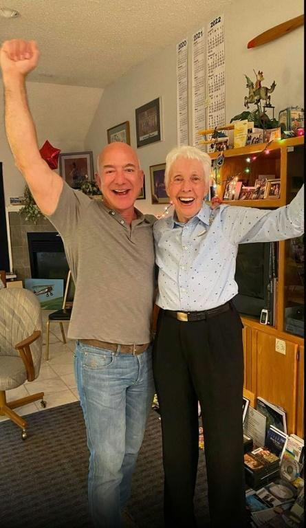 Jeff Bezos tells an excited Wally Funk that she will finally fly to space