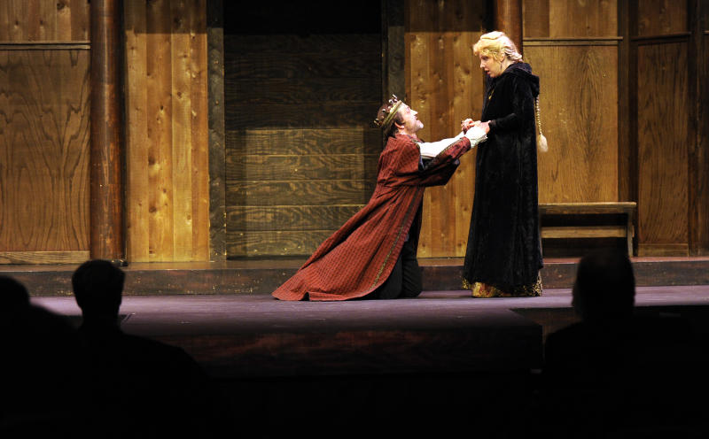"In this March 17, 2011 photo, Drew Reeves, playing King Edward, left, and Mary Russell, playing Countess of Salisbury, perform during the Atlanta Shakespeare Company's opening performance of ""Edward lll"", a play some believe not penned by William Shakespeare in Atlanta. The company claims to be the first in the southeast to perform all 39 plays written at least in part by Shakespeare. (AP Photo/John Amis)"