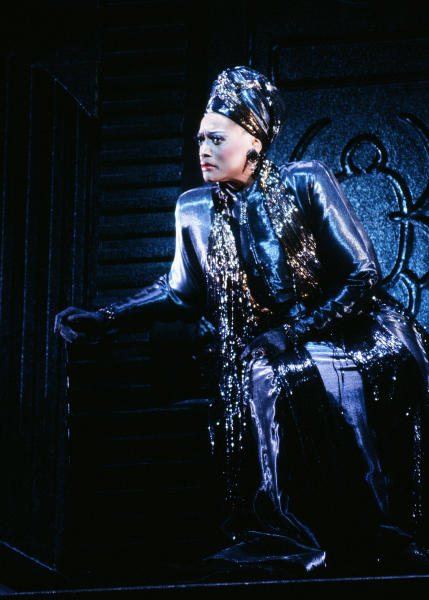 "This 1995-1996 image released by the Metropolitan Opera shows soprano Jessye Norman as Emilia Marty in Janáček's ""The Makropulos Case,"" in New York. Norman died, Monday, Sept. 30, 2019, at Mount Sinai St. Luke's Hospital in New York. She was 74. (Erika Davidson/Metropolitan Opera via AP)"