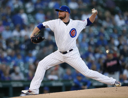 Chicago Cubs' Jon Lester pitches during the first inning of a baseball game against the Cleveland Indians on Wednesday, May 23, 2018, in Chicago. (AP Photo/Jim Young)