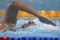 Allison Schmitt of the United States swims in a heat of the women's 200-meter freestyle at the 2020 Summer Olympics, Monday, July 26, 2021, in Tokyo, Japan. (AP Photo/Matthias Schrader)