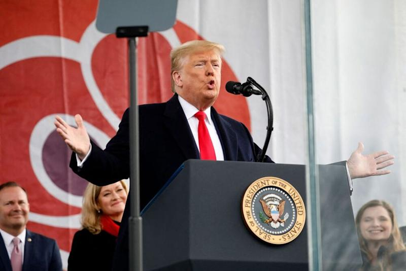 President Donald Trump at the 2019 March for Life on Friday   Sipa via AP Images
