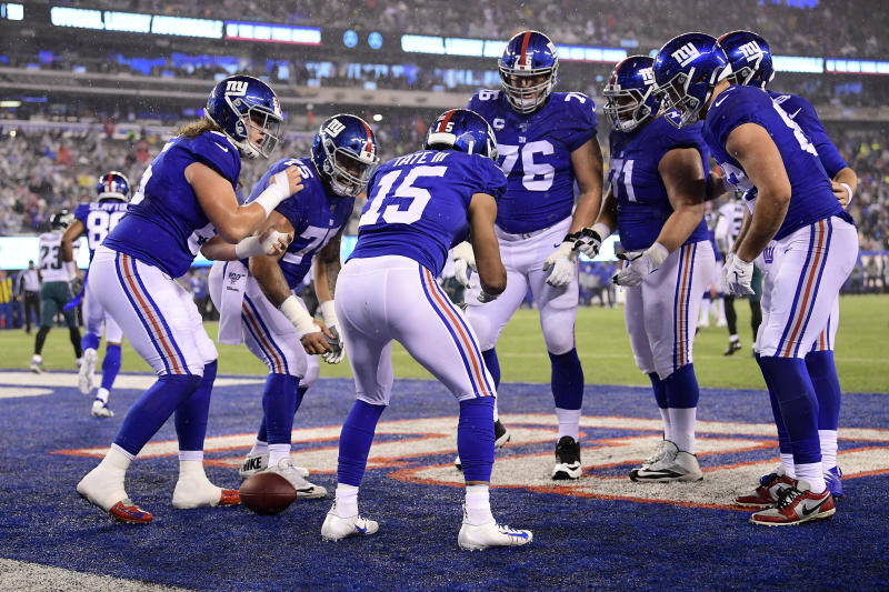 EAST RUTHERFORD, NEW JERSEY - DECEMBER 29: Golden Tate #15 of the New York Giants celebrates with his teammates after scoring a touchdown against the Philadelphia Eagles during the third quarter in the game at MetLife Stadium on December 29, 2019 in East Rutherford, New Jersey. (Photo by Steven Ryan/Getty Images)