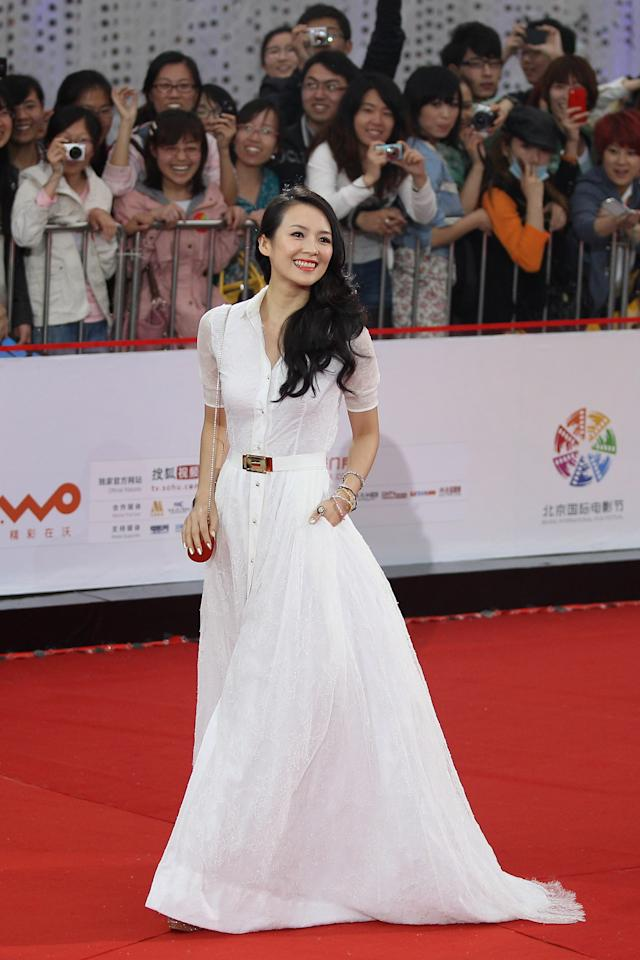 BEIJING, CHINA - APRIL 23: Chinese actress Zhang Ziyi arrives for the red carpet of 2nd Beijing International Film Festival at China National Convention Center on April 23, 2012 in Beijing, China. (Photo by Feng Li/Getty Images)