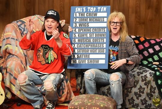 """<p>As Stefon would say, this three-and-a-half hour special had <i>everything</i>: Appearances by cast members old and new, tributes from A-list celebs, big-name musical performers, and backstage intrigue. Mike Myers and Dana Carvey reprised the always-excellent """"Wayne's World,"""" while a slew of mega-stars paraded through a hilarious edition of """"Celebrity Jeopardy."""" Queens of comedy Tina Fey, Amy Poehler, and Jane Curtin read """"Weekend Update."""" Even long-estranged former cast member Eddie Murphy made an appearance (though he declined to play Bill Cosby in a sketch). It was a non-stop party with a point, reminding us just how deeply <i>Saturday Night Live</i> is embedded in pop culture. — <i>Kelly Woo</i><br /></p><p><i>(Credit: Getty Images)</i></p>"""