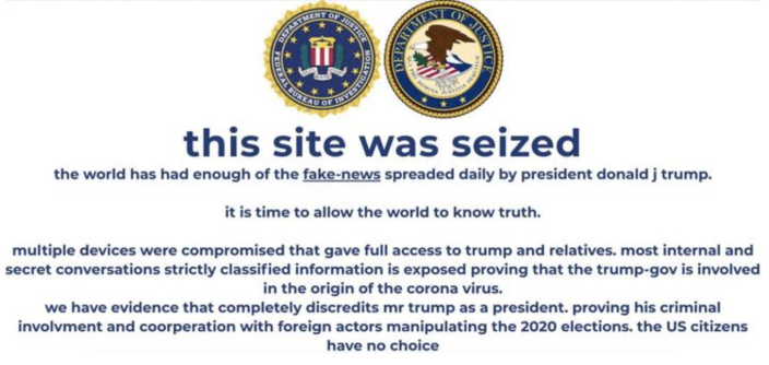 A screenshot shows a message posted Tuesday, October 27, 2020, to the campaign website for President Donald Trump by apparent hackers. / Credit: CBS News